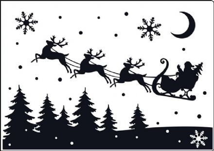 CTA412 ~ SANTA'S SLEIGH  ~ A4 embossing folder by Crafts Too